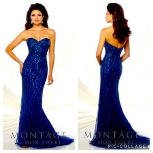 Montage by MonCheri strapless beaded gown